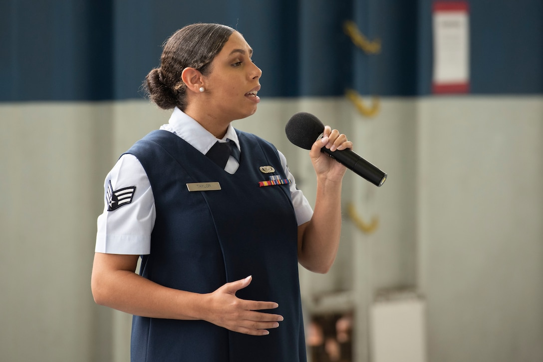 Senior Airman Taylor performs the national anthem during a Veteran's Day ceremony Nov. 11, 2020, on Maxwell Air Force Base, Alabama. (U.S. Air Force photo by Senior Airman Charles Welty)
