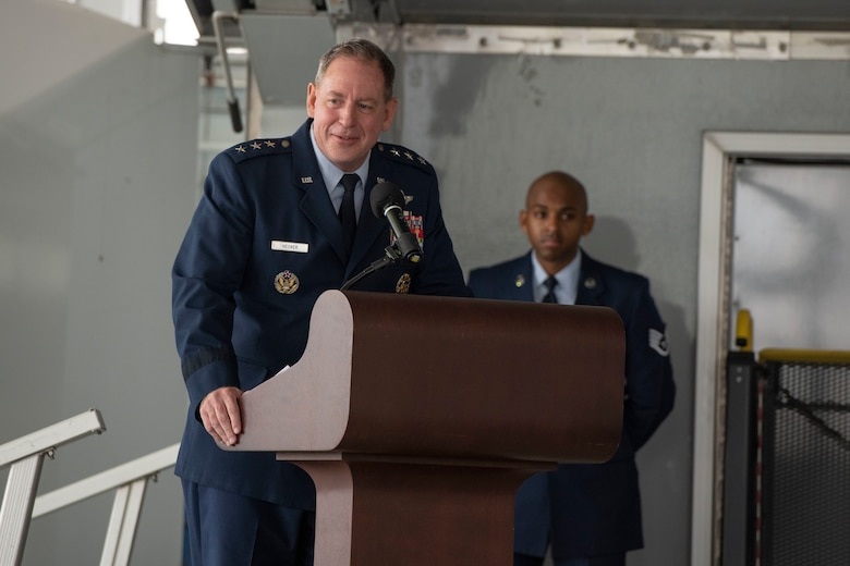 Lt. Gen. James Hecker, Air University commander and president, speaks during Maxwell Air Force Base's Veteran's Day ceremony Nov. 11, 2020. (U.S. Air Force photo by Senior Airman Charles Welty)