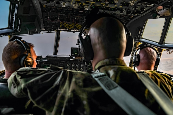 Aircrew members assigned to the 757th Airlift Squadron fly an aerial spray modified C-130H Hercules aircraft, Sept. 23, 2020, above Mountain Home Air Force Base's Saylor Creek Training Range, Idaho.