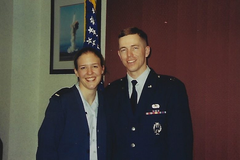 Maria Williford, a U.S. Air Force veteran, left, and her husband, now Col. Russell Williford, 341st Missile Wing vice commander, pose for a photo. (Courtesy photo)