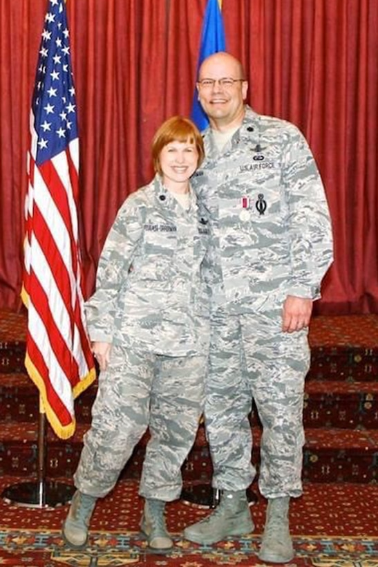 Don Opperman, a U.S. Air Force veteran, right, and his wife, now Col. Anita Feugate Opperman, 341st Missile Wing commander, pose for a photo. (Courtesy photo)