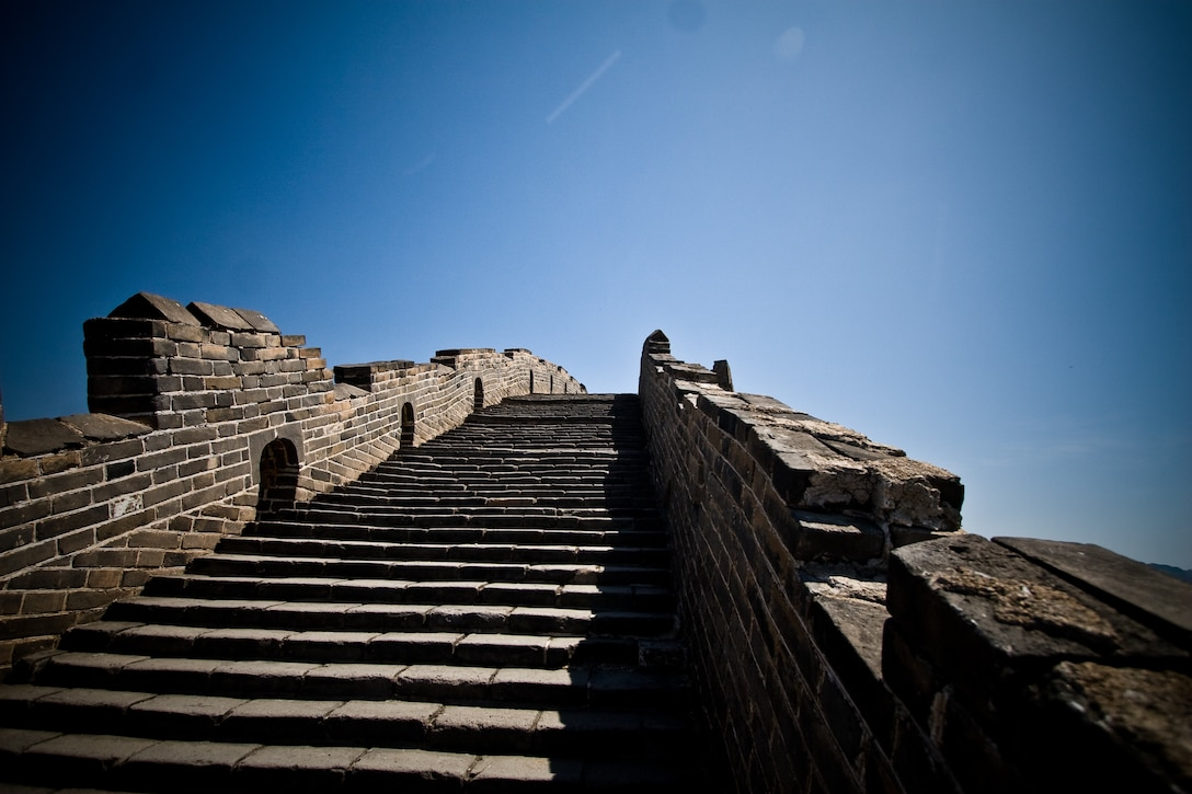 Upward steps on the Great Wall of China.
