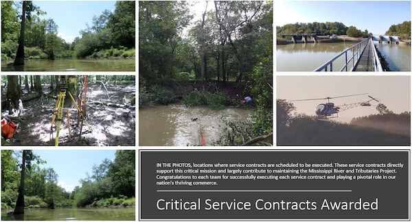 IN THE PHOTO, locations where service contracts are scheduled to be executed. These service contracts directly support this critical mission and largely contribute to maintaining the Mississippi River and Tributaries Project. Congratulations to each team for successfully executing each service contract and playing a pivotal role in our nation's thriving commerce.