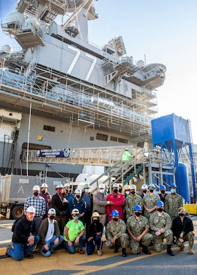The tank team for the USS George H.W. Bush (CVN 77) project, comprised of shipyard personnel, Sailors, and contractors, completed work on more than 500 tanks and helped ensure the Bush undocked on time Aug. 29.