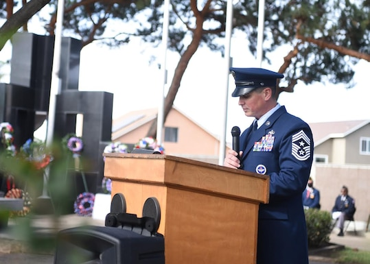 Chief Master Sgt. Jason Delucy, 30th Space Wing command chief, speaks during a Veterans Day ceremony Nov. 11, 2020, in Santa Maria, Calif. The observance honors military veterans with parades and speeches across the nation and a ceremony at the Tomb of the Unknowns at Arlington National Cemetery in Virginia. Currently, there are more than 18.2 million living veterans that have served during at least one war. (U.S. Space Force photo by Senior Airman Hanah Abercrombie)