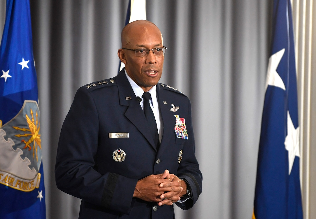 Air Force Chief of Staff Gen. Charles Q. Brown, Jr. addresses the audience during Gen. David Allvin's promotion ceremony at Joint Base Anacostia-Bolling, Washington, D.C., Nov. 12, 2020. Allvin will serve as the 40th Vice Chief of Staff of the Air Force. (U.S. Air Force Photo by Andy Morataya)