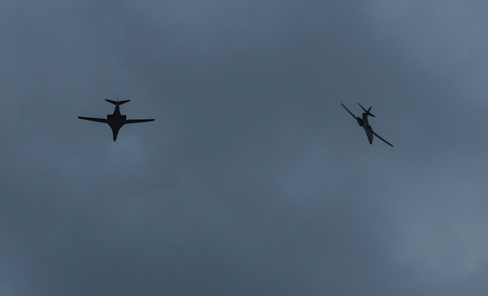 Two U.S. Air Force B-1B Lancers fly above Andersen Air Force Base, Guam, Nov. 8, 2020, during a Bomber Task Force deployment. Various BTF missions are conducted in the Indo-Pacific region in support of Pacific Air Forces' training efforts with allies, partners and joint forces.
