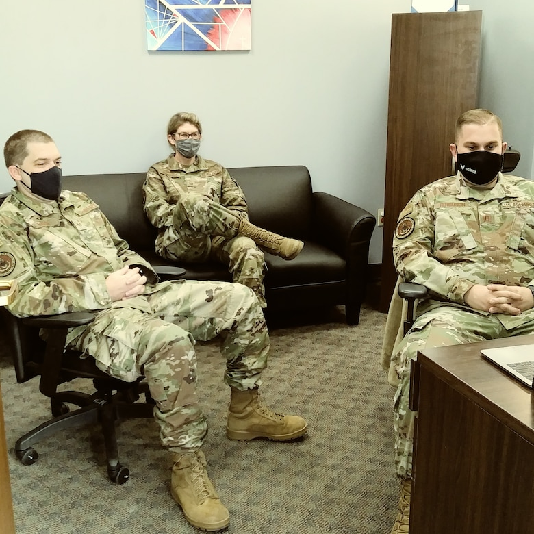 The 940 ARW Chaplain Corps Staff are engaged in viewing the Q & A session with Col. Downs and continuing to practice social distancing and adorning facial coverings.