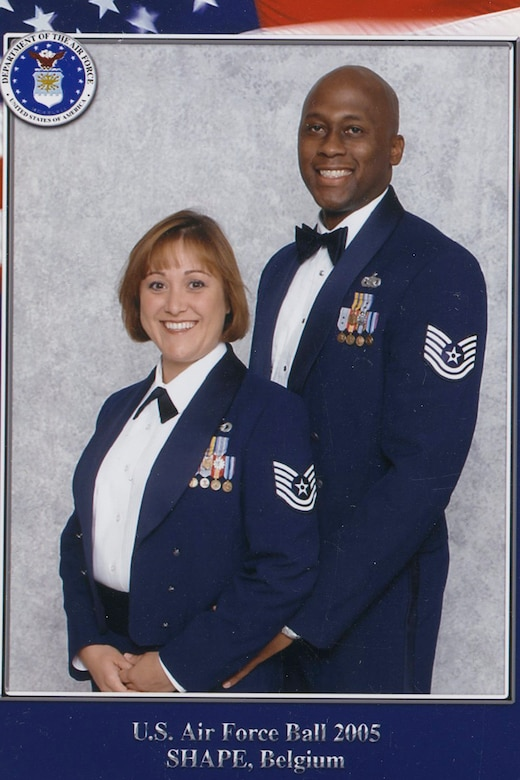 Tammy Harper, a U.S. Air Force veteran, left, and her husband, now Chief Master Sgt. Ron Harper, 341st Missile Wing command chief, pose for a photo. (Courtesy photo)