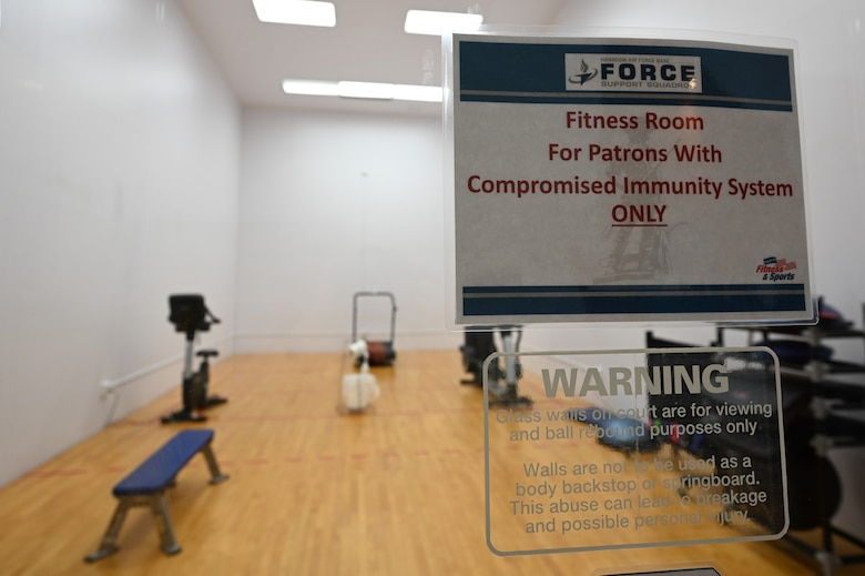 Officials from the Hanscom Air Force Base, Mass., Fitness and Sports Center have opened a designated workout room for immunocompromised customers. The room is open to eligible Hanscom personnel and up to four same-home family members by appointment only. (U.S. Air Force photo by Mark Herlihy)