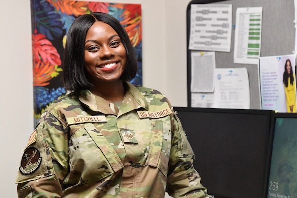Staff Sgt. Kymyenna Mitchell, 341st Medical Group NCO in charge of commander support staff, poses for a photo November 10, 2020, at Malmstrom Air Force Base, Mont.