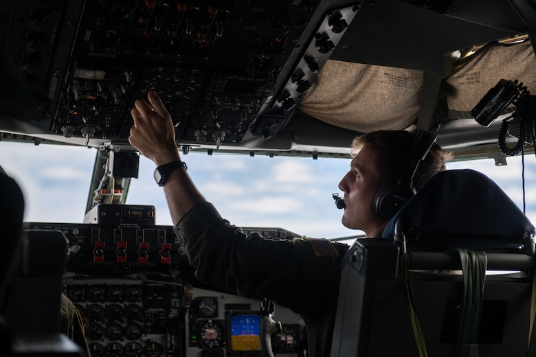 U.S. Air Force Capt. Dan Thomas, 909th Aerial Refueling Squadron KC-135 Stratotanker pilot, conducts aerial refueling operations in support of a Bomber Task Force mission, Nov. 13, 2020, over the Pacific Ocean off the coast of Japan. Bomber Task Force missions demonstrate U.S. commitment to allies and partners throughout the Indo-Pacific area of responsibility and the ability of Air Force Global Strike Command to deliver lethal strike options for combatant commanders at a moment's notice. (U.S. Air Force photo by Staff Sgt. Peter Reft)