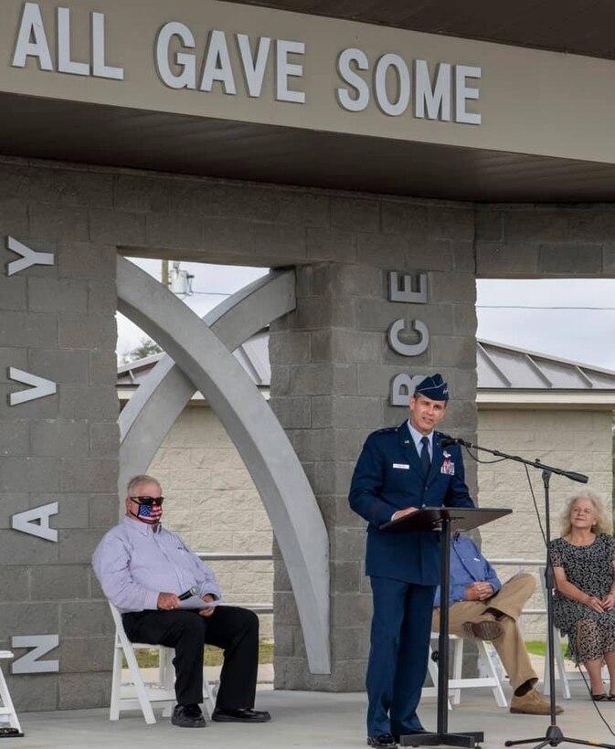 Maj. Gen. Brian Simpler addresses participants at the unveiling of an Honor Walk for Veterans Nov. 11 at Veterans Memorial Park at Beacon Hill, Port St. Joe, Fla.