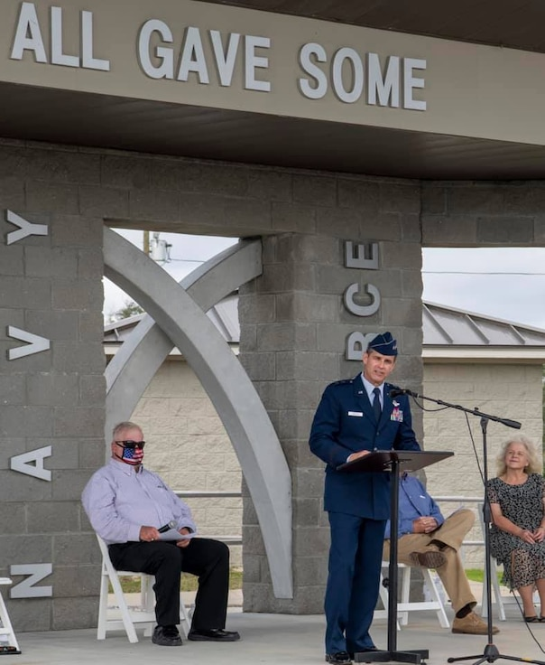 Maj. Gen. Brian Simpler addresses participants at the unveiling of an Honor Walk for Veterans Nov. 11 at Veterans Memorial Park at Beacon Hill, Port St. Joe, Fla.
