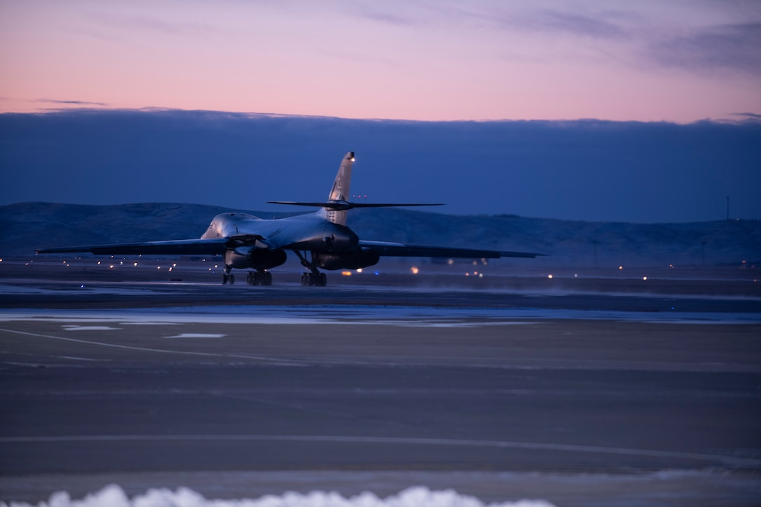 A B-1B Lancer assigned to the 34th Bomb Squadron taxis before a Bomber Task Force mission from the continental United States, Nov. 12, 2020. Long-range, long-duration missions demonstrate the U.S. Air Force's unwavering commitment to our allies and partners around the globe. (U.S. Air Force photo by Airman Jonah Fronk)