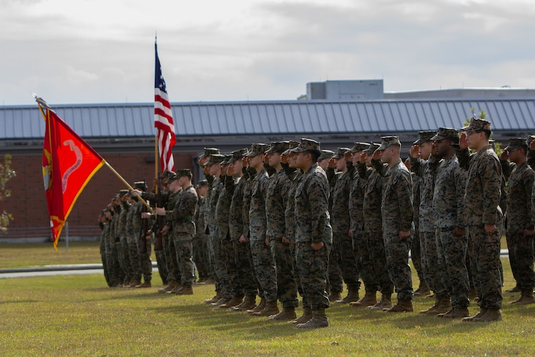 Marine Forces Special Operations Command hosted the 245th Marine Corps Birthday cake cutting ceremony at Camp Lejeune, North Carolina, Nov. 6, 2020.  Lt. Gen. George W. Smith, Deputy Commandant for Plans, Policies and Operations served as the guest of honor at the celebration intended to reflect on the traditions, history and legacy of the Marine Corps. COVID-19 restrictions have changed the way Marines across the globe are celebrating the Corps' 245th birthday. The annual galas, held to commemorate the founding of Marine Corps, have been scaled back to ensure the health of the force while ensuring the most meaningful aspects of the festivities remain untouched.  (U.S. Marine Corps photo by Cpl. Jesula Jeanlouis)