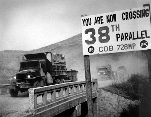 United Nations forces withdraw from North Korean capital, Pyongyang, recrossing 38th parallel, ca. 1950 (U.S. Information Agency/U.S. National Archives and Records Administration)
