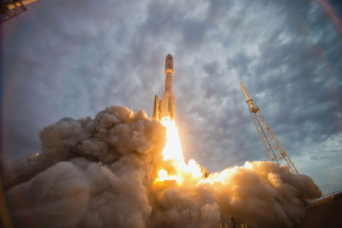 Atlas V rocket launches Navy's Mobile User Objective System 2 satellite from Space Launch Complex–41 at Cape Canaveral Air Force Station