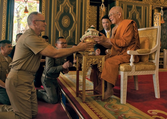 Chaplain (Captain) James Johnson, USN, presents gift to Supreme Patriarch of Thailand during exercise Cobra Gold, in Bangkok, Thailand, February 12, 2018 (U.S. Navy/Ian Kinkead)