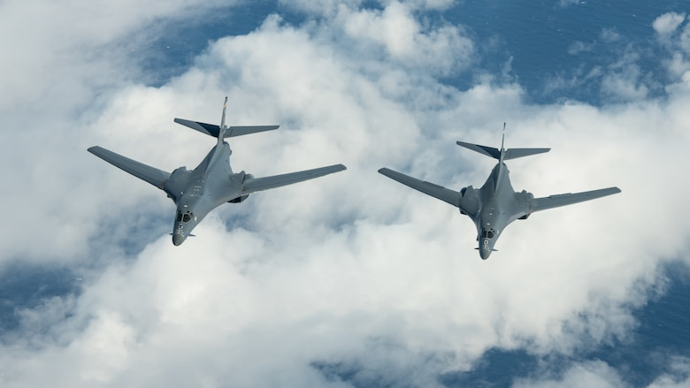 U.S. Air Force B-1B Lancers participate in a joint training exercise during a Bomber Task Force deployment, Nov. 13, 2020, over the Pacific Ocean. Bomber Task Force missions demonstrate U.S. commitment to allies and partners throughout the Indo-Pacific area of responsibility and the ability of Air Force Global Strike Command to deliver lethal strike options for combatant commanders at a moment's notice. (U.S. Air Force photo by Staff Sgt. Peter Reft)