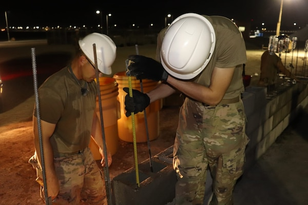 Members of the 310th Engineering Detachment work on construction a Joint Air Ground Station building in Qatar. The building is being built using troop labor from a design from the U.S. Army Corps of Engineers Middle East District's Center of Standardization for Nonpermanent Facilities (COS). The COS maintains a library of off the shelf designs that can be adapted for almost any purpose. Using COS designs can save significant time and money in the construction process.