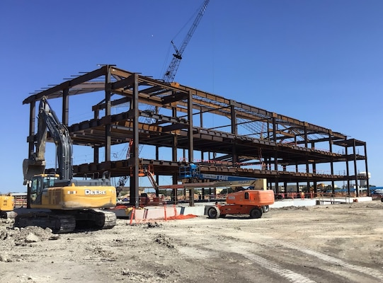 Steel frame of the dining and classroom facility for Airmen Training Center West Campus goes up