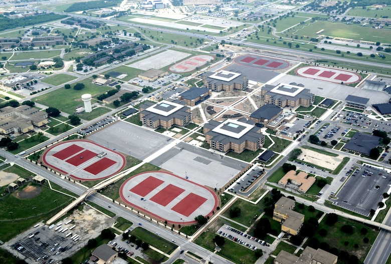 An aerial view of Joint Base San Antonio-Lackland's Airmen Training Complex East Campus.