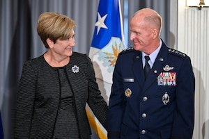 Air Force Vice Chief of Staff Gen. Stephen W. Wilson stands with his wife Nancy during his retirement ceremony at Joint Base Anacostia-Bolling, Washington, D.C., Nov. 13, 2020. Gen. David W. Allvin will succeed Wilson as the 40th Air Force vice chief of staff. (U.S. Air Force photo by Eric Dietrich)
