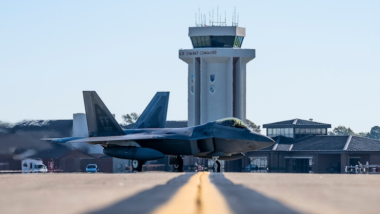 A U.S. Air Force F-22 Raptor aircraft assigned to the 1st Fighter Wing taxis prior to take off.
