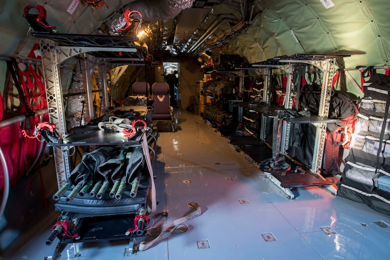 An aeromedical evacuation configuration is completed on a KC-135 Stratotanker in preparation for an AE mission at Travis Air Force Base, California, Nov. 7, 2020. Even though the primary mission of the KC-135 is extending Global Reach through air refueling, Stratotankers are capable of supporting a variety of missions including cargo delivery, AE, passenger delivery, serving as a communication platform and more. (U.S. Air Force photo by Senior Airman Lawrence Sena)