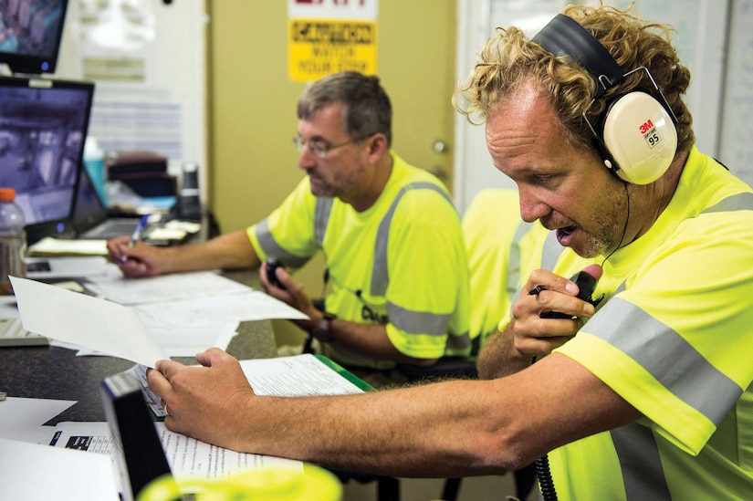 Control room operators with Edgewood Chemical Biological Center aboard U.S. Government–owned container ship MV Cape Ray