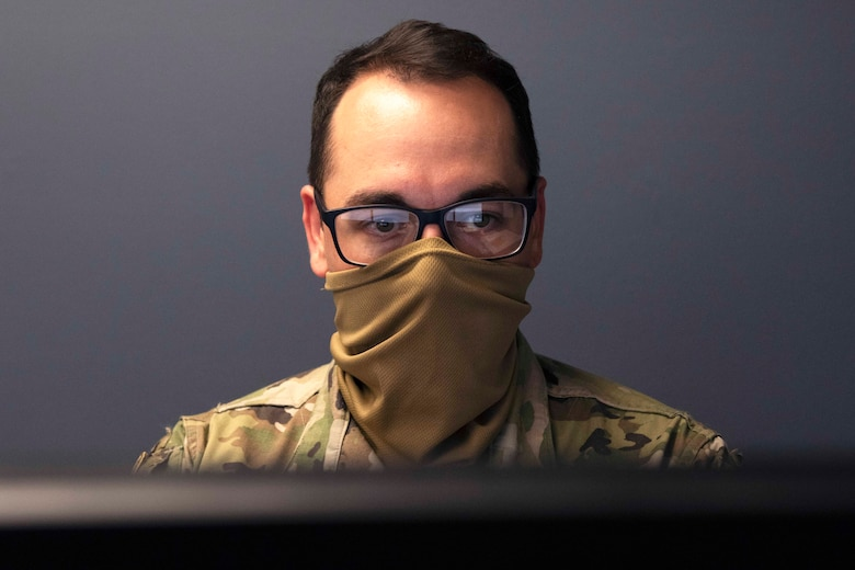 Airman checks email