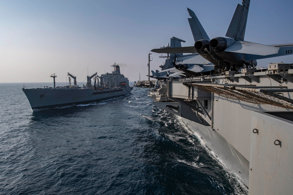 USS Nimitz (CVN 68) during a replenishment-at-sea.