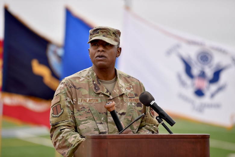 U.S. Air Force Col. James Finlayson, 17th Training Wing vice commander, delivers opening remarks at the Prisoner of War and Missing in Action 24 hour remembrance run on the Mathis Fitness Center track on Goodfellow Air Force Base, Texas, Nov. 13, 2020. Finlayson spoke about the courage that men and women in POW-MIA positions must have and how to learn from them. (U.S. Air Force photo by Staff Sgt. Seraiah Wolf)