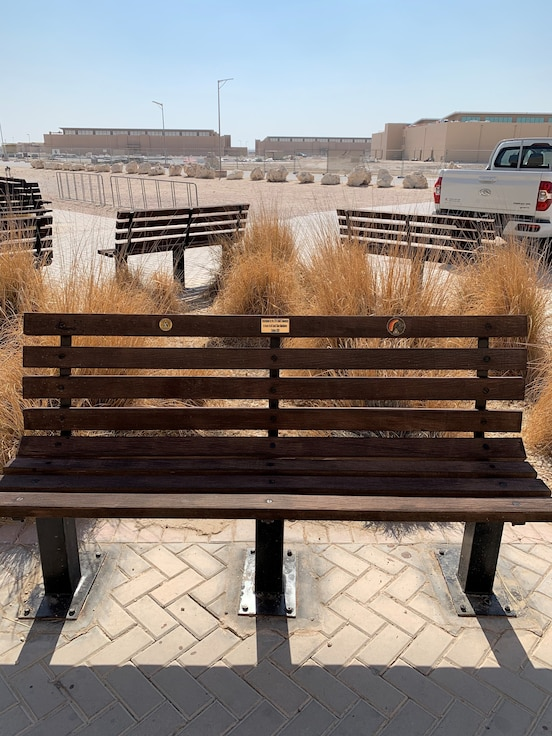 Pictured in this courtesy photo is a bench restored by members of the 379th Expeditionary Aircraft Maintenance Squadron outside of the Blatchford-Preston Complex Base Exchange at Al Udeid Air Base, Qatar.