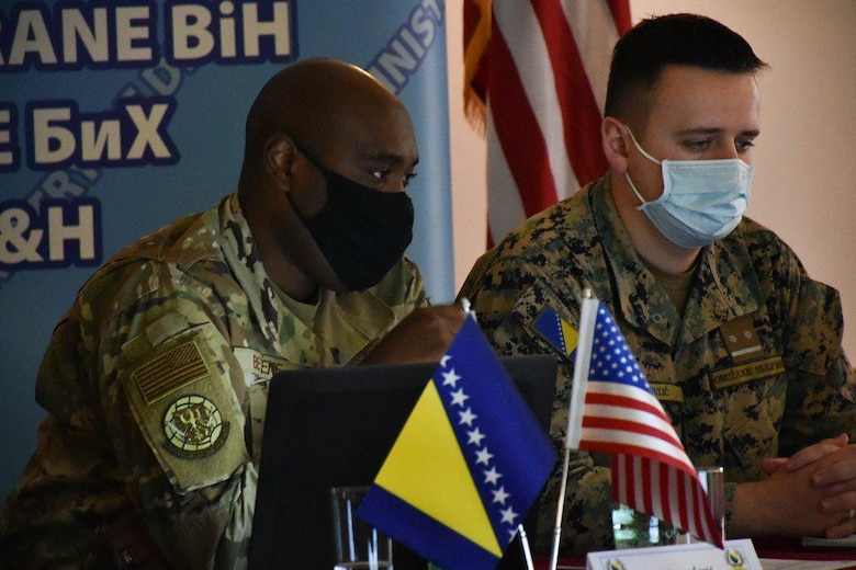 U.S. Air Force Capt. Claude L. Betene A Dooko, left, Assistant Director of Operations with the 435th Contingency Response Support Squadron at Ramstein Air Base, Germany and Armed Forces of Bosnia and Herzegovina Lt. Smail Mulić, right, Chief of Online Media for the Armed Forces of Bosnia and Herzegovina participate in a public affairs planning and advising event in Sarajevo, Nov. 9-13, 2020.