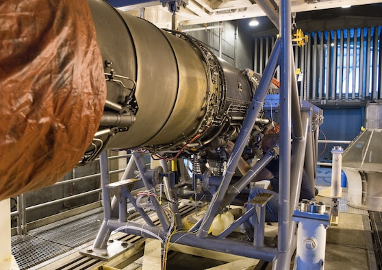 A F404 engine is prepared to run in the Sea Level 1 Test Cell at Arnold Air Force Base, Tenn., Sept. 1, 2020. The F404 will be operated to determine the health of the engine and if it is suitable for use as an engine sensors testbed. (U.S. Air Force photo by Jill Pickett)