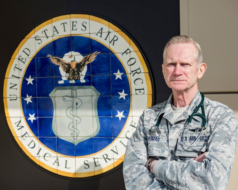 U.S. Air Force Col. Craig R. Thomas, 168th Medical Group commander assigned to the 168th Wing, Alaska Air National Guard, poses for a photo at Eielson Air Force Base, Fairbanks, Alaska, April 8, 2020. Thomas retired in spring after 48 years of military service. (U.S. Air National Guard photo by Tech. Sgt. Adam Keele)