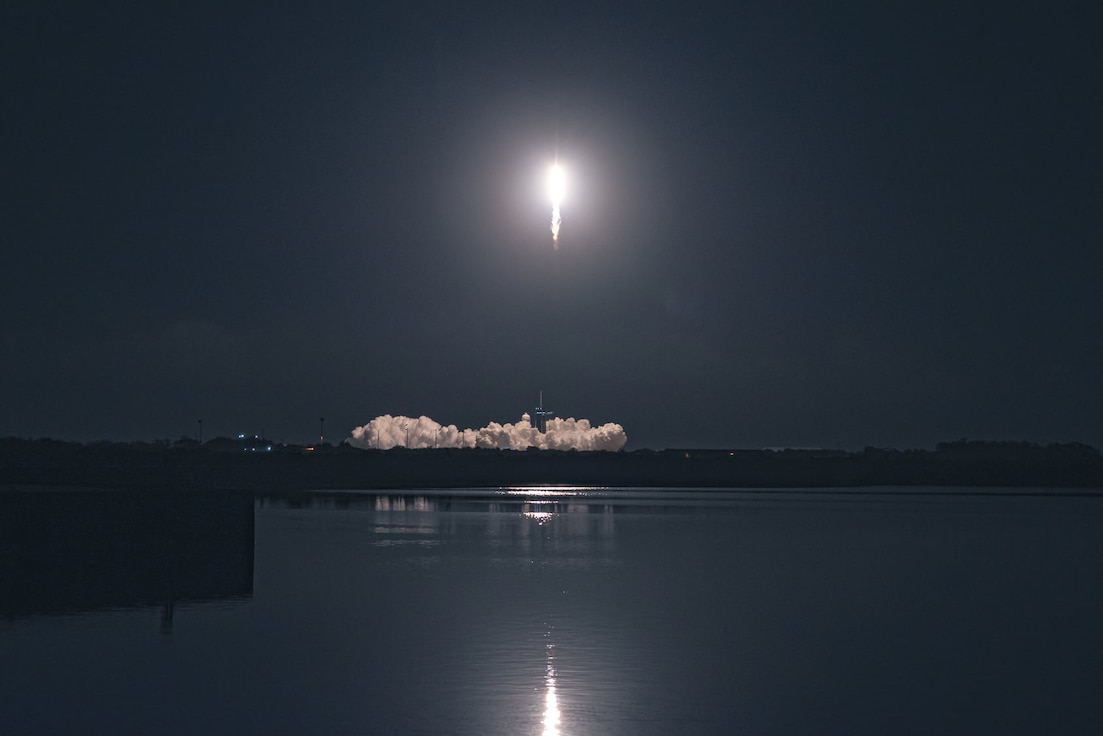 A SpaceX Falcon 9 rocket carrying the company's Crew Dragon spacecraft is launched on NASA's SpaceX Crew-1 mission to the International Space Station Nov. 15, 2020, at NASA's Kennedy Space Center in Florida.