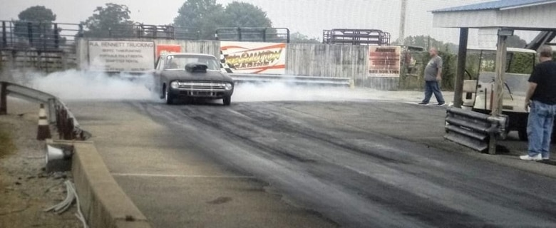 Daniel Jones burns rubber in his 1961 Ford Falcon at the US 60 Dragway in Hardinsburg, Kentucky. Jones, inside machinist lead at the Arnold Engineering Development Complex Model and Machine Shop at Arnold Air Force Base, Tenn., took up the hobby of drag racing around 25 years ago, an activity that has taken him to various parts of the country for competitions. (Courtesy photo)