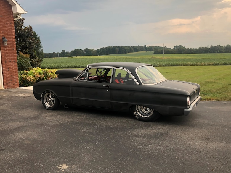 This 1961 Ford Falcon is the primary car Daniel Jones uses in drag race competitions. Jones, inside machinist lead at the Arnold Engineering Development Complex Model and Machine Shop at Arnold Air Force Base, Tenn., took up drag racing as a hobby around 25 years ago. The Falcon was the first car he ever bought and has been souped up over the years for drag racing competitions. (Courtesy photo)