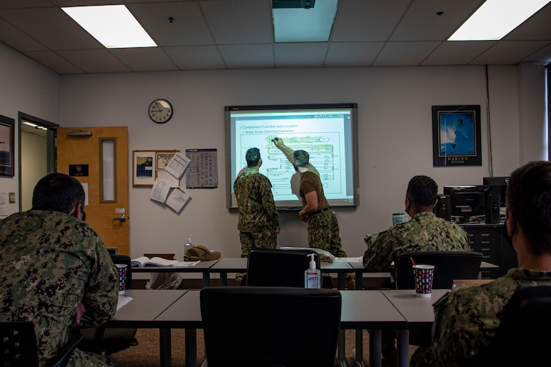 Photo of sailors writing on a whiteboard.