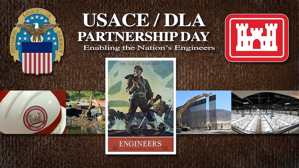 Graphic depicting DLA and USACE logos and other photos.