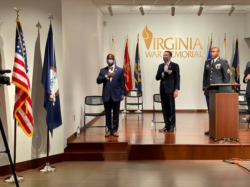 Staff Sgt. Eddie B. Jones leads the Pledge of Allegiance at the 64th annual Commonwealth's Veterans Day Ceremony Nov. 11, 2020, at the Virginia War Memorial in Richmond, Virginia.