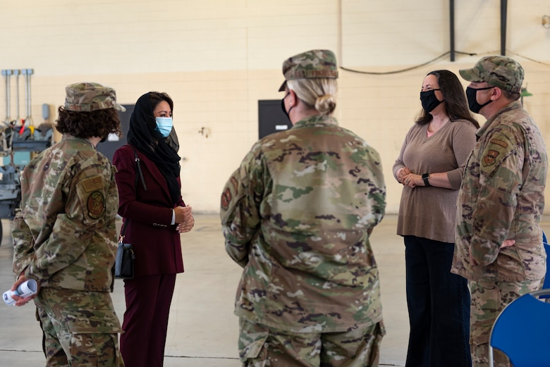 A photo of the ambassador of Afghanistan speaking to Airmen before a ceremony