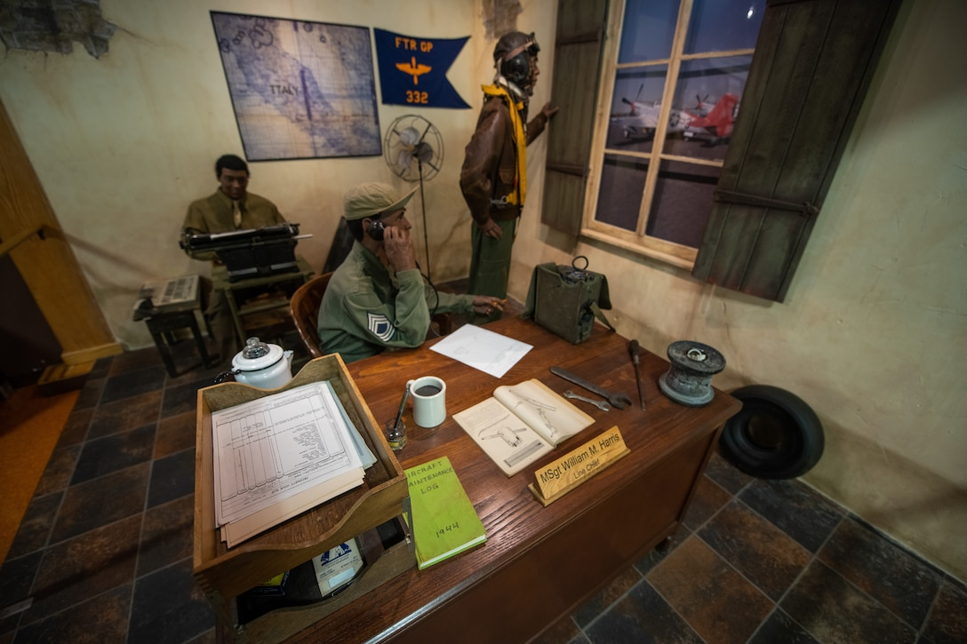 Artifacts from the Tuskegee Airman exhibit are displayed for visitors to view in the USAF Airman Heritage Training Complex, Aug. 10, at Joint Base San Antonio-Lackland, Texas.
