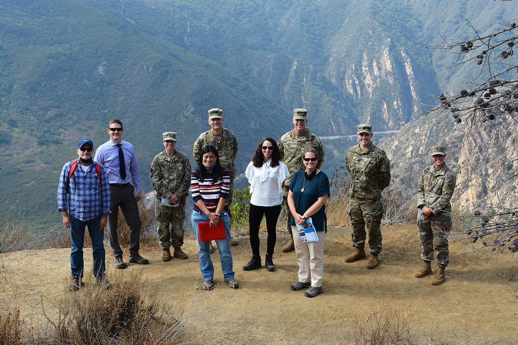 Members of the U.S. Army Corps of Engineers Los Angeles District pose for a picture alongside senior leaders with the Corps' Headquarters and South Pacific Division during a tour of the Malibu Creek Ecosystem Restoration project Oct. 6 near Calabasas, California. Lt. Gen. Scott Spellmon, the Corps' commanding general and 55th U.S. Army chief of engineers, signed the chief's report for the project Nov. 13 at the Corps' headquarters in Washington D.C., which elevates the report to the Assistant Secretary of the Army for Civil Works, U.S. Office of Management and Budget, and to Congress for consideration of project authorization.