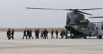 Several members of South Korea's National Assembly Defense Committee arrive at USAG Humphreys.