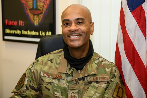 U.S. Air Force Senior Master Sgt. Timothy Brewster, 100th Logistics Readiness Squadron materiel management flight chief, is the president of the Royal Air Force Mildenhall Diversity and Inclusion Council which promotes mutual respect, understanding, harmony, teamwork, pride and esprit de corps among all groups on base. Brewster coordinated impactful events in 2020, including the Unity Walk, the Diversity & Inclusion Day and Real Unity Now events. (U.S. Air Force photo by Staff Sgt. Lexie West)