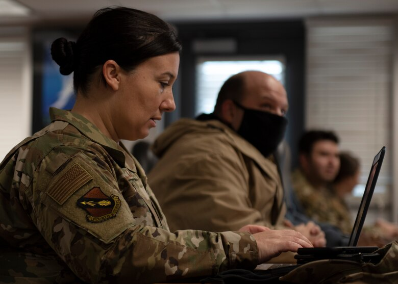 Master Sgt. Stephanie Miller, 4th Fighter Wing law office superintendent, attends an Excel class at Seymour Johnson Air Force Base, North Carolina, Nov. 2, 2020.
